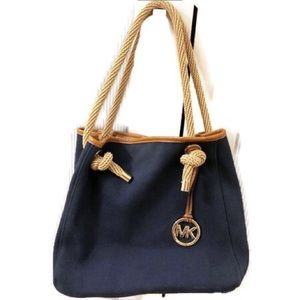 Michael Kors Navy Blue Canvas Shoulder Purse/ Tote